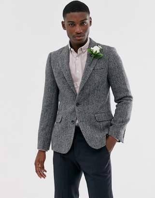 Design DESIGN Harris Tweed slim blazer with wool herringbone in grey