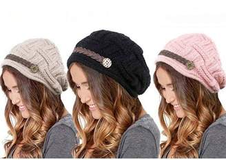 BEIGE One And Only USA Top-Premium Women's Knitted Beanie Head Cap Leather Headwear Hats (3 Units, Black Pink)