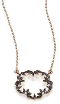 Mizuki Diamond& 14K Blackened Gold Small Open Petal Necklace