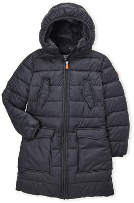 Save The Duck (Girls 7-16) Black Faux Fur-Lined Hooded Coat