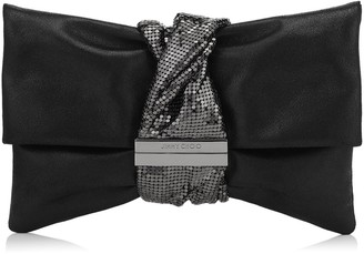Jimmy Choo CHANDRA/M Black Metallic Leather Clutch Bag with Chainmail Bracelet