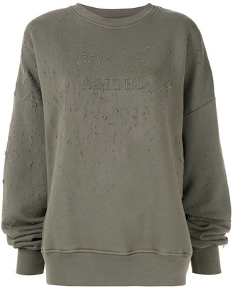 Amiri logo print distressed sweatshirt