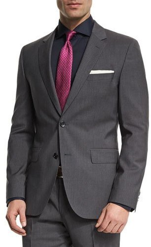 Hugo Boss Hugo Boss Johnstons Lennon Fine-Striped Slim-Fit Basic Two-Piece Suit, Gray