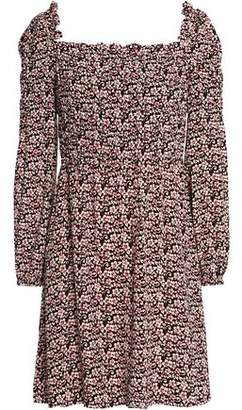Maje Gathered Floral-Print Crepe Mini Dress