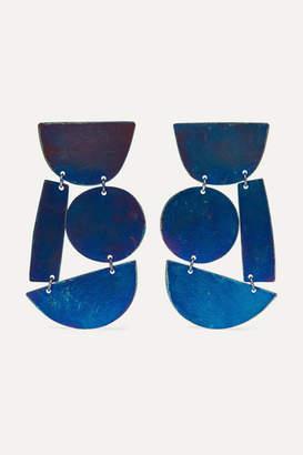 Annie Costello Brown Masha Oxidized Earrings - Blue