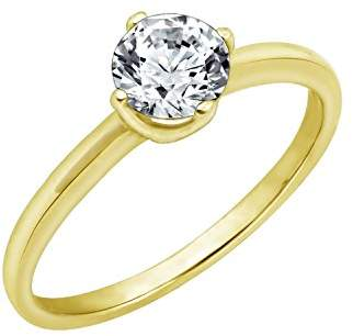 Swarovski La Lumiere Yellow Gold Plated Sterling Silver Zirconia Round Solitaire Ring