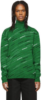 Balenciaga Green Wool Jacquard Turtleneck