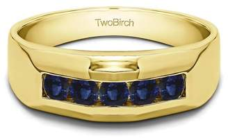Twobirch Sapphire Mounted in Sterling Silver Sapphire Cool Mens Wedding Band (0.76crt)