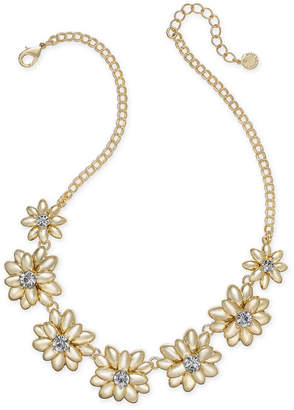 "Charter Club Gold-Tone Crystal & Stone Flower Statement Necklace, 17"" + 2"" extender, Created for Macy's"