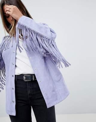 Asos Design Fringe Suede Jacket