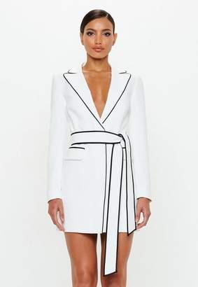 Missguided White Contrast Binding Blazer Dress