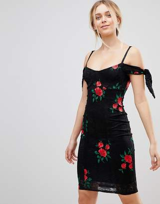 Girls On Film Embroidered Bardot Dress