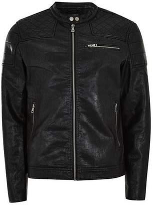 Topman Mens Black Faux Leather Racer Jacket