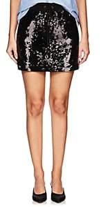 Alberta Ferretti Women's Sequin-Embellished Track Miniskirt-Black