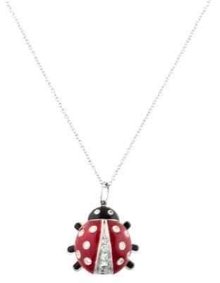 Tiffany & Co. Platinum Diamond & Enamel Ladybug Pendant Necklace