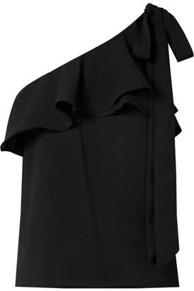 Rebecca Vallance Bellisima Ruffled One-shoulder Crepe Top - Black