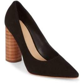 Pour La Victoire Leather Block Heel Pumps