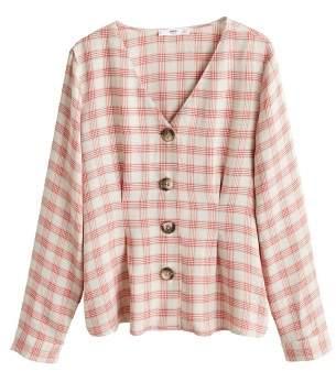 MANGO Linen-blend check blouse
