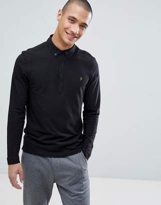 Farah Merriweather Slim Fit Long Sleeve Pique Polo Shirt in Black