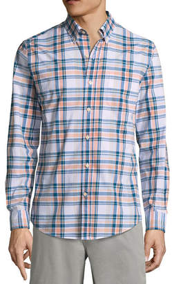 ST. JOHN'S BAY Long Sleeve Gingham Button-Front Shirt
