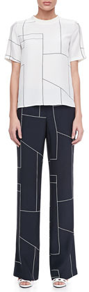 Theory Mitrana Geometric-Print Trousers