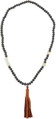 Akola Long Paper & Glass Beaded Necklace w/ Leather Tassel, Gray