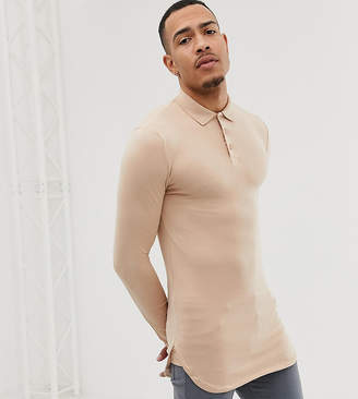 BEIGE ASOS DESIGN Tall longline long sleeve muscle polo with bound curved hem in