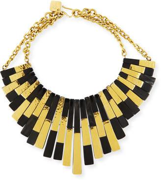 Ashley Pittman Kifalme Dark Horn & Bronze Bib Necklace, Bronze