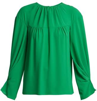 Emilia Wickstead Lauren Gathered Crepe Blouse - Womens - Green