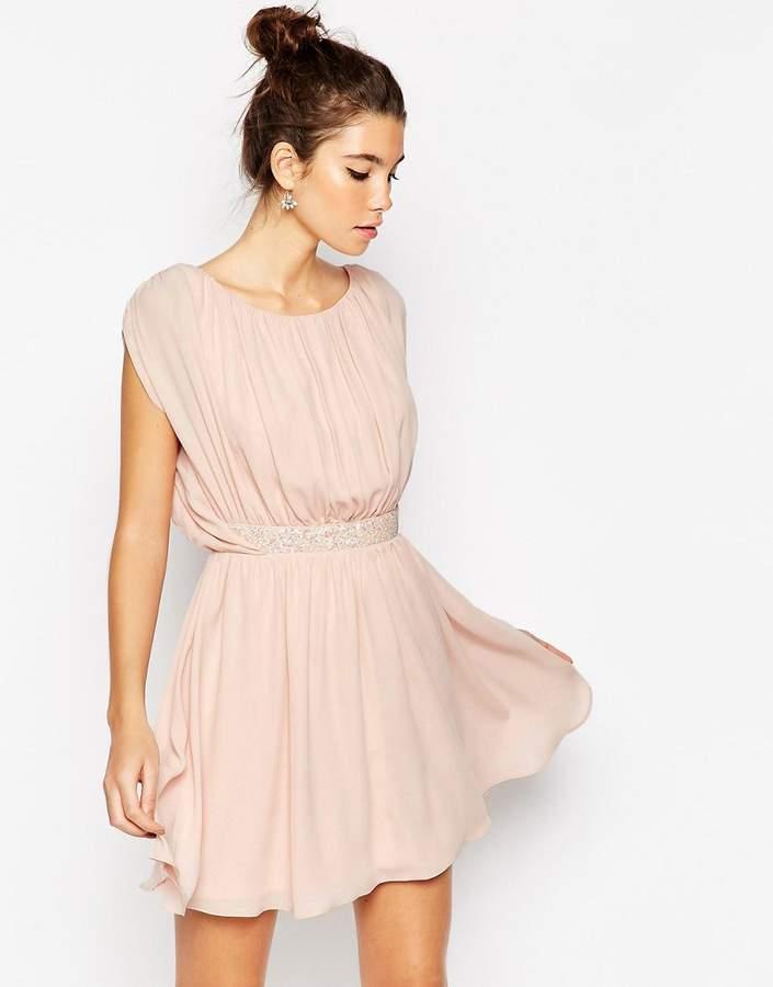 Asos Embellished Waist Mini Skater Dress