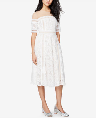 RACHEL Rachel Roy Illusion Embroidered Lace Midi Dress $179 thestylecure.com
