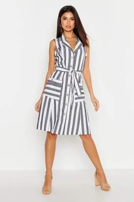 boohoo Linen Stripe Pocket Button Through Midi Dress