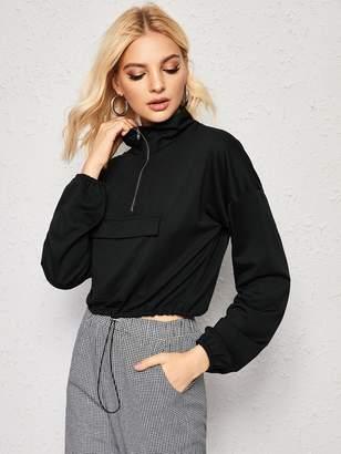Shein Solid Pocket Front Half Zip Sweatshirt