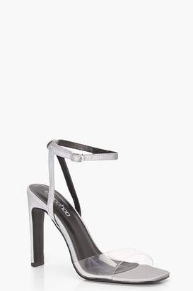 boohoo Reflective 2 Part Flat Block Heels