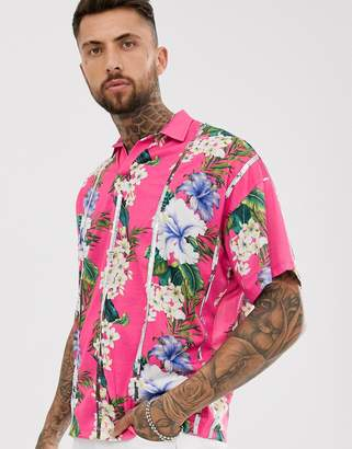 Asos Design DESIGN oversized revere polo with floral print and sequin stripes