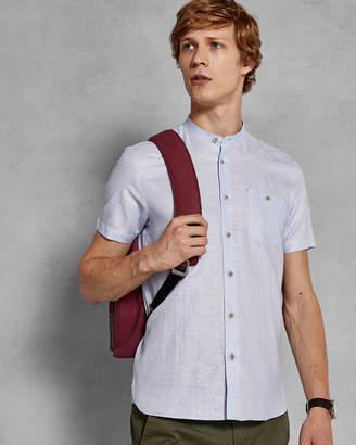 Ted Baker SELDAY Cotton-linen grandad collar shirt
