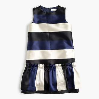 J.Crew Girls' drop-waist dress in striped satin
