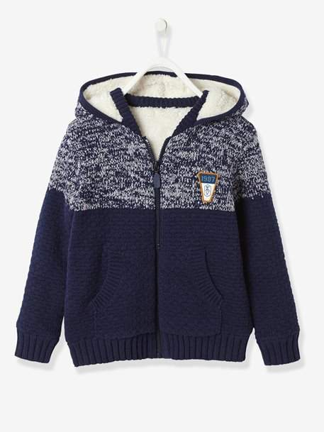 Boys' Zip-Up Cardigan with Hood - blue dark mixed color