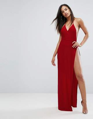 Club L Slinky Wrap Front Maxi Dress