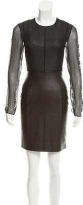 Brandon Sun Sheer-Paneled Sheath Dress