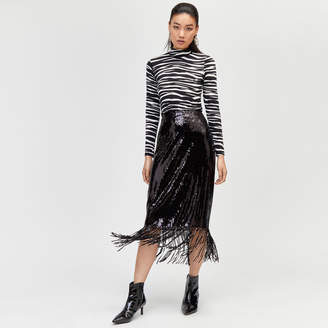 Warehouse Sequin Fringe Midi Skirt
