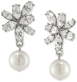 Carolee Silver-Tone Imitation Pearl and Crystal Drop Earrings $40 thestylecure.com