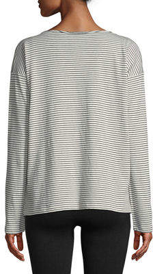 Vince Pencil-Stripe Long-Sleeve Boat-Neck Cotton Top