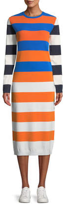 Tory Sport Broad-Stripe Tech Knit Long-Sleeve Midi Dress