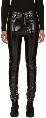 Rag & Bone Black Vinyl High-Rise Skinny Jeans