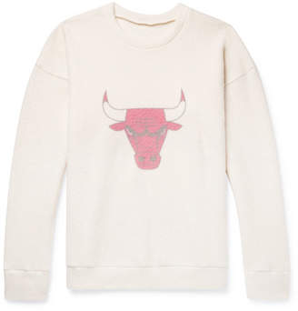 The Elder Statesman NBA Chicago Bulls Printed Brushed Cashmere-Blend Sweatshirt - Men - Cream