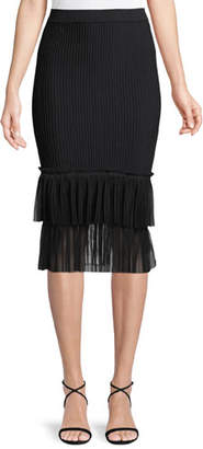 Jonathan Simkhai Ribbed Ottoman Tulle Pencil Midi Skirt