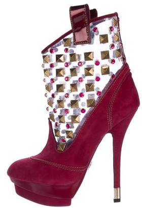 Cesare Paciotti Embellished Platform Ankle Boots w/ Tags