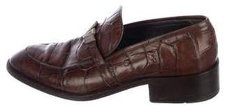 Gianni Versace Embossed Leather Dress Loafers brown Embossed Leather Dress Loafers
