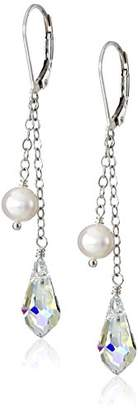Swarovski Sterling Silver Freshwater Cultured Pearl and Aurora Borealis Crystals on Double Drop Earrings